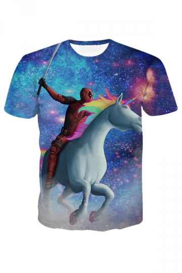 Womens Deadpool Unicorn Printed Short Sleeve Tee Shirt Blue