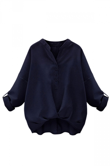 Womens Chic Plain V Neck Pleated Hem Pullover Blouse Navy Blue