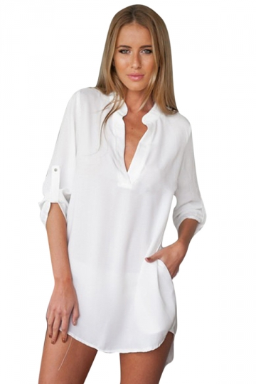 Womens Casual V Neck Long Sleeve Plain Blouse White