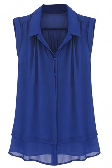 Womens Plain Turndown Collar Sleeveless Blouse Blue