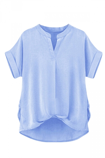 Womens Plain Stand Collar High Low Short Sleeve Blouse