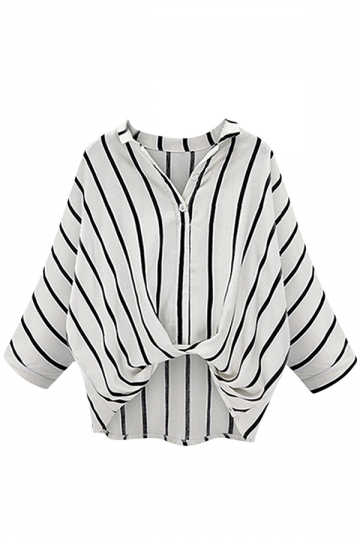 Womens Casual High Low Batwing Sleeve Striped White