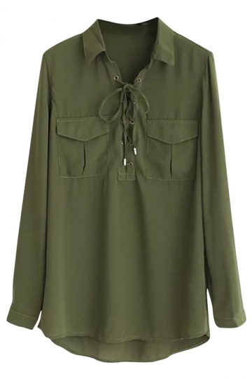 Womens Plain Lace Up Front Long Sleeve Pockets Blouse Army Green