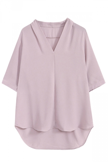 Womens Simple V-neck High-low Plain Short Sleeve Blouse Pink