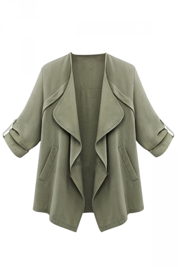 Womens Chic Irregular Pockets Plain Blazer Green