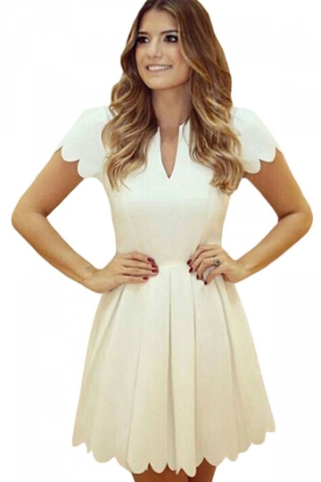 Womens V Neck Scallop Pleated Plain Skater Dress White