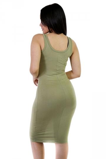 Womens Sexy Plain Bodycon Midi Tank Dress Army Green