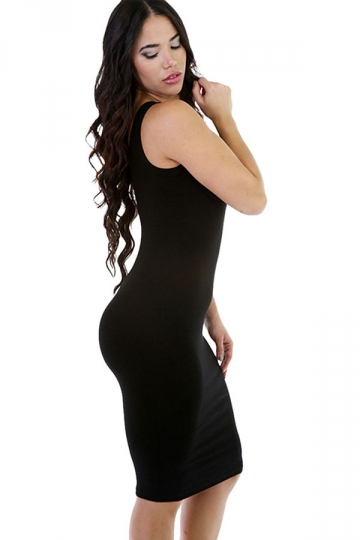 Womens Sexy Plain Bodycon Midi Tank Dress Black