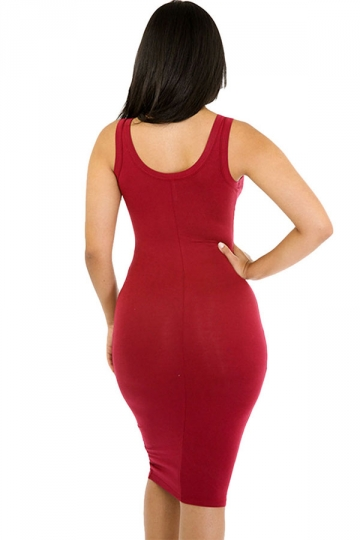 Womens Sexy Plain Bodycon Midi Tank Dress Ruby