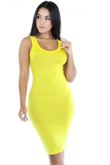 Womens Sexy Plain Bodycon Midi Tank Dress Yellow