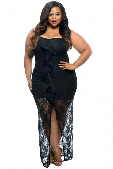 Womens Plus Size Ruffle Sleeveless Lace Dress Rose Black