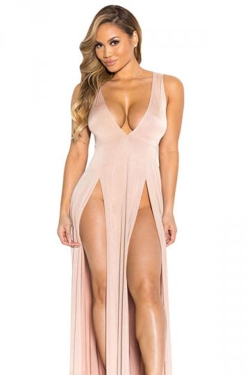 Womens Sexy V Neck Slit Front Sleeveless Maxi Clubwear Dress Pink