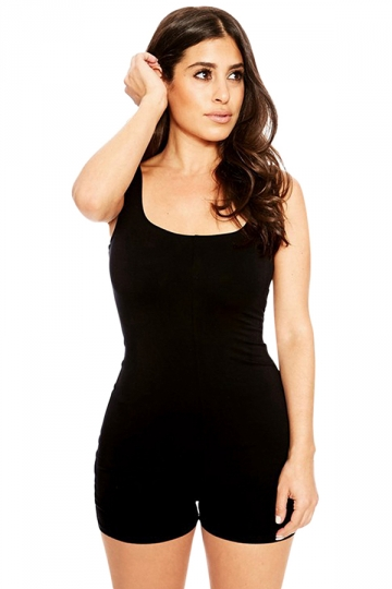 Womens Sleeveless Plain Bodycon Romper Black