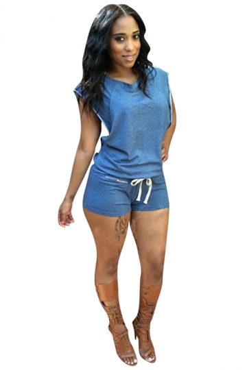 Womens Slimming Sleeveless Drawstring Waist Romper Light Blue