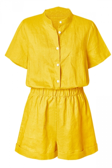 Womens Chic Stand Collar Short Sleeve Plain Romper Yellow