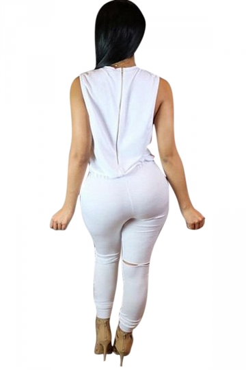 Womens Sleeveless Knee Cutout Drawstring Waist Jumpsuit White