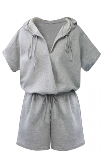 Womens Casual Drawstring Waist Short Sleeve Hooded Romper Gray