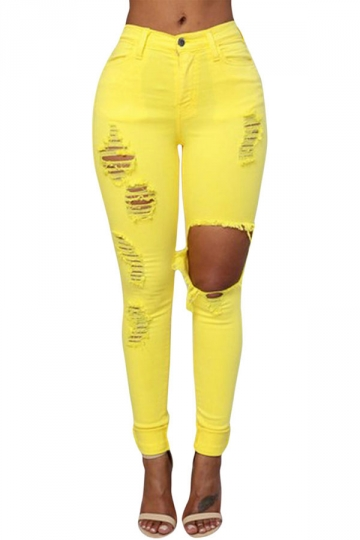 Womens Fashion Plain Ripped High Waist Jeans Yellow