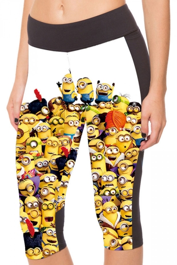 Womens Side Pocket Minions Printed Capri Sports Leggings Yellow