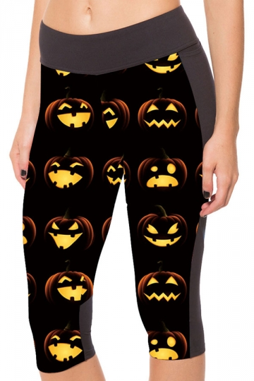 Womens Side Pocket Pumpkin Emoji Printed Sports Capri Leggings Yellow