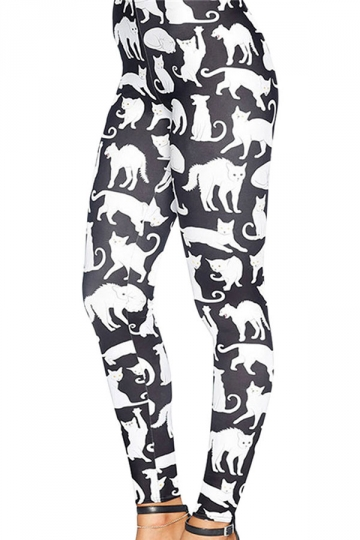 Womens Slimming 3D Cat Printed Pencil Leggings White
