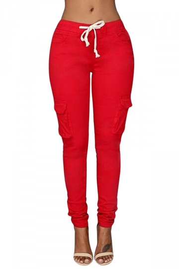 Womens Casual Plain Drawstring Waist Pockets Pants Red