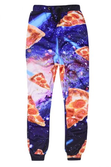 Womens Leisure 3D Galaxy Pizza Printed Jogger Sports Pants Blue
