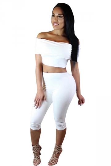 Womens Sexy Off the Shoulder Crop Top&Capri Pants Suit White