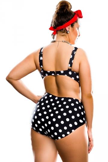 Womens Plus Size Polka Dot Top & High Waist Bottom Bikini Set Black