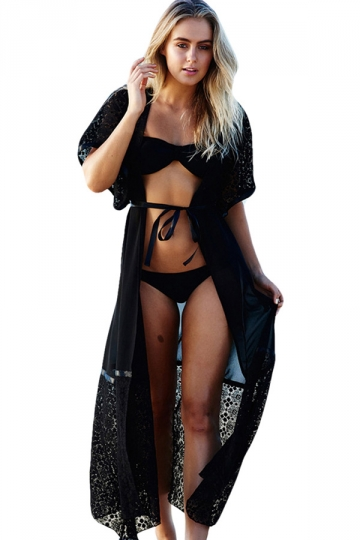 Womens Sexy Lace Patchwork Short Sleeve Long Beach Cover-up Black
