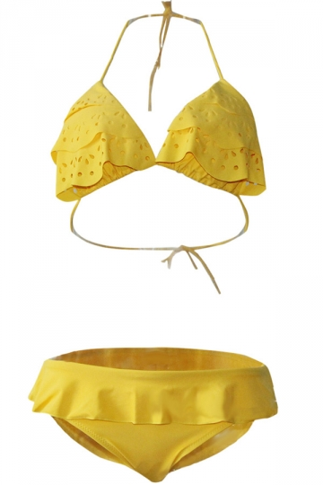 Womens Hollow Out Ruffled Bikini Top & Sexy Swimwear Bottom Yellow