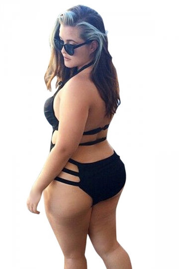 Womens Sexy Plus Size Cut Out Bandage One Piece Swimsuit Black
