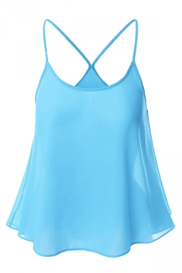 Womens Sexy Plain Spaghetti Straps Camisole Top Light Blue