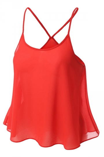Womens Sexy Plain Spaghetti Straps Camisole Top Red