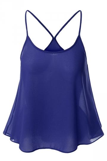 Womens Sexy Plain Spaghetti Straps Camisole Top Sapphire Blue