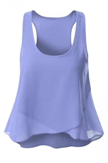 Womens Plain Irregular Hem Sleeveless Tank Top Light Purple