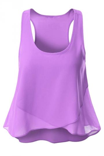 Womens Plain Irregular Hem Sleeveless Tank Top Purple