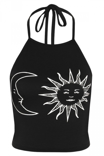 Womens Halter Sun and Moon Printed Backless Camisole Top Black