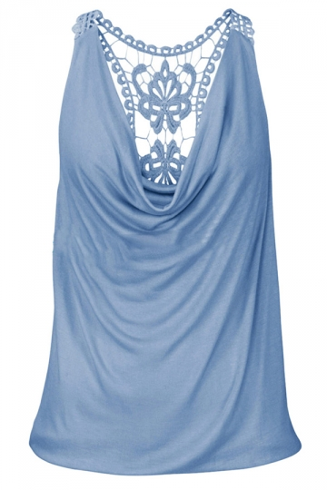 Womens Sexy Cowl Neck Lace Patchwork Tank Top Blue