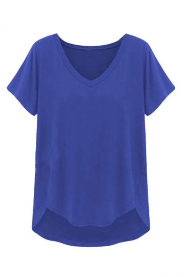 Womens Casual V Neck Short Sleeve Plain T Shirt Blue