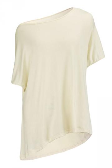 Womens Casual Oblique Shoulder Short Sleeve Plain T Shirt Beige White