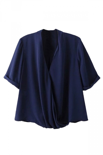 Womens Sexy Cross V Neck Short Sleeve Plain Chiffon Blouse Navy Blue