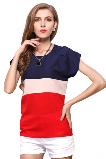 Womens Casual Color Block Short Sleeve Blouse Red