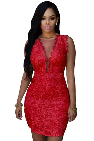 Womens Sexy Mesh Patchwork Backless Clubwear Dress Red