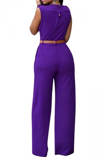Womens Deep V Neck Sleeveless High Waist Wide Leg Jumpsuit Purple