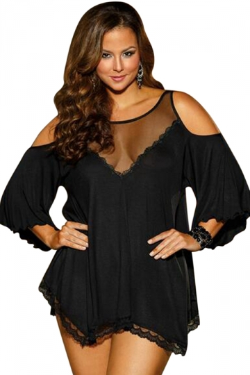 Womens Sexy Sheer Cold Shoulder Irregular Plus Size Babydoll Black