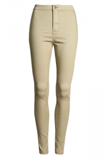Womens Slimming Plain High Waist Pencil Leggings Khaki
