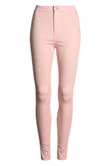 Womens Slimming Plain High Waist Pencil Leggings Pink