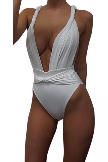 Womens Sexy Twisted Rope Bandage Plain Monokini White