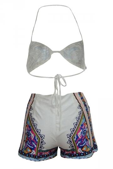 Womens Sexy Halter Exotic Print Top&High Waist Bottom Bikini Set White